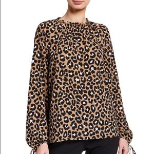 NWT Michael Kors Ruffle-Neck Blouse with Beading